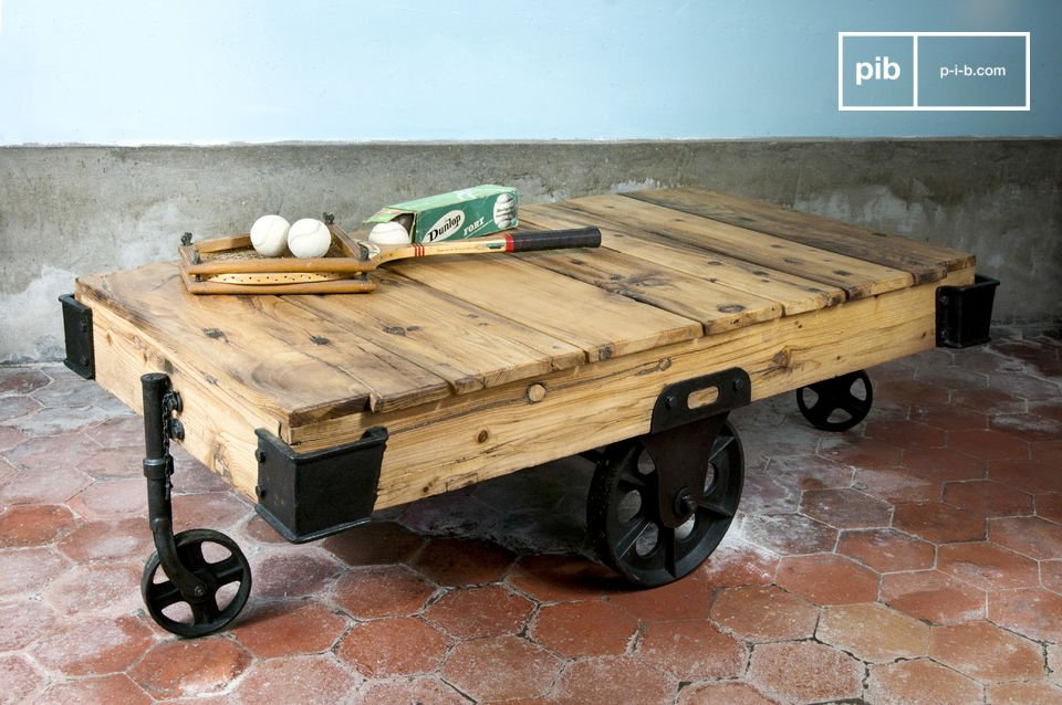 Mesa de centro carretilla de madera ruedas de hierro pib for Mesas industriales vintage