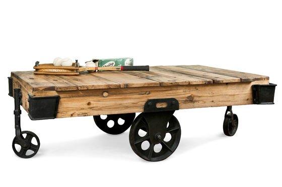 Mesa de centro carretilla de madera Clipped
