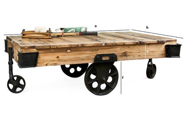 Dimensiones del producto Mesa de centro carretilla de madera