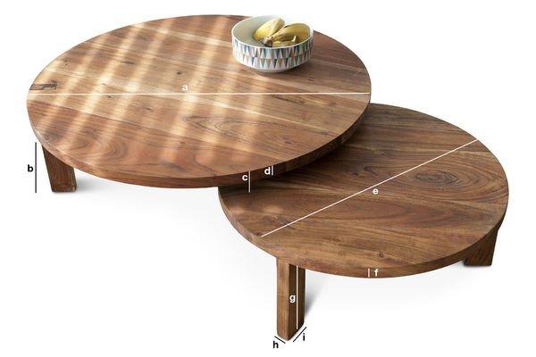 Dimensiones del producto Mesa de centro con doble tablero Stockholm
