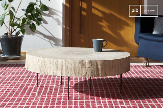 Mesa de centro de tronco de árbol Luka natural