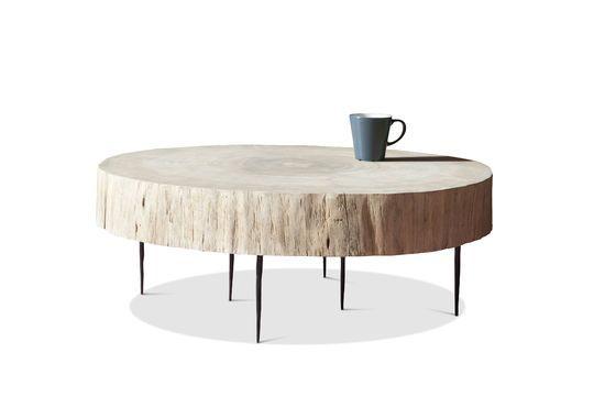 Mesa de centro de tronco de árbol Luka natural Clipped