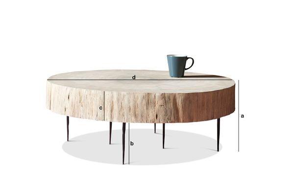 Dimensiones del producto Mesa de centro de tronco de árbol Luka natural