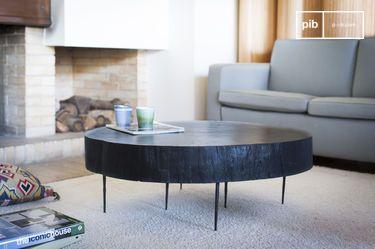 Mesa de centro de tronco de árbol Luka negro