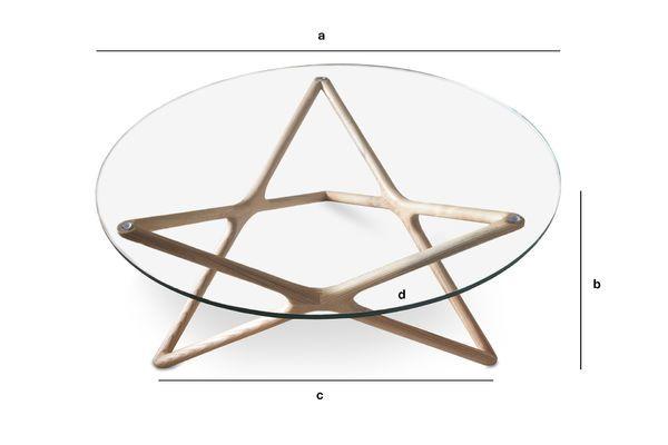 Dimensiones del producto Mesa de centro de vidrio Estrella