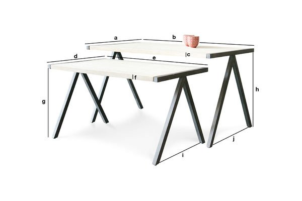 Dimensiones del producto Mesa de centro doble Arlanda