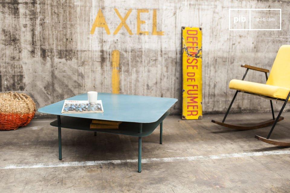 Esta mesa de metal usa colores reminiscentes del estilo retro de los años 50