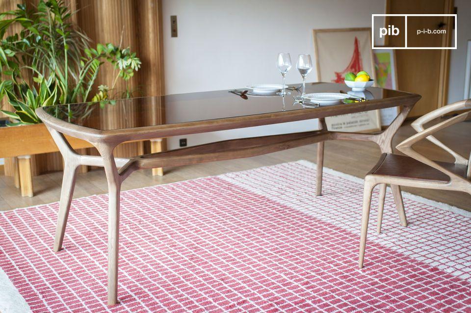 Mesa de comedor de madera y vidrio Dagsmark