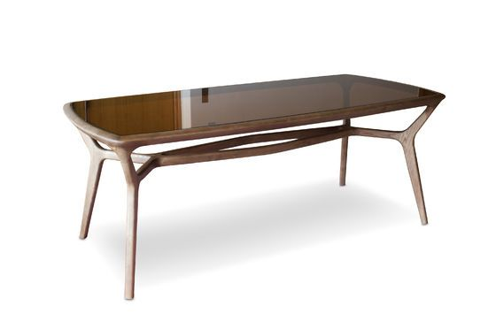 Mesa de comedor de madera y vidrio Dagsmark Clipped