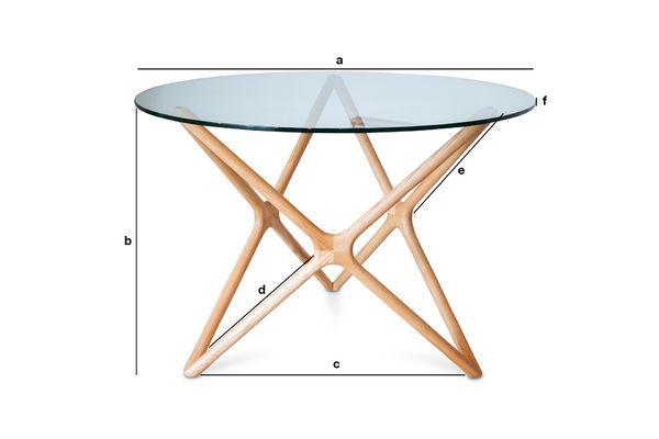 Dimensiones del producto Mesa de comedor de vidrio Estrella