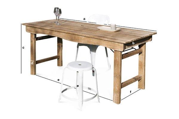 Dimensiones del producto Mesa de madera Elise