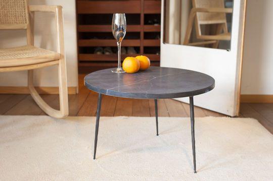 Mesa de sofá en mármol negro Vilma
