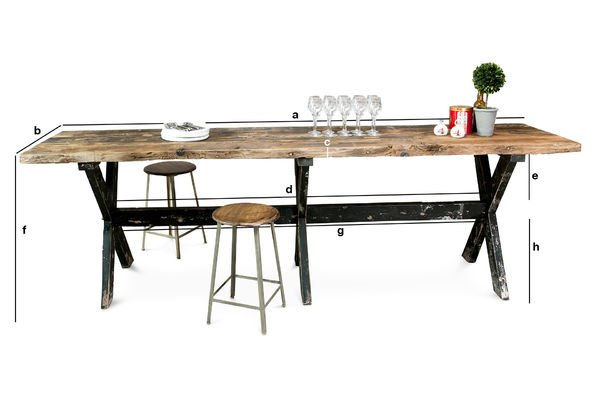 Dimensiones del producto Mesa High bar hecha de madera Sullivan