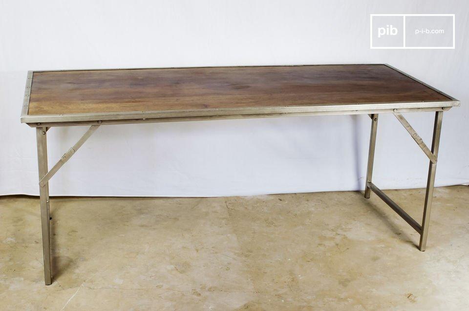 mesa plegable de roble y acero pib. Black Bedroom Furniture Sets. Home Design Ideas