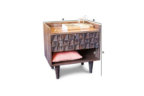 Dimensiones del producto Mesilla de noche de madera Balkis