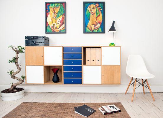 Mueble auxiliar modular madera blanco y azul
