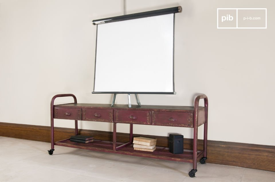 Mueble de tv industrial patinado pib for Mueble de pared industrial