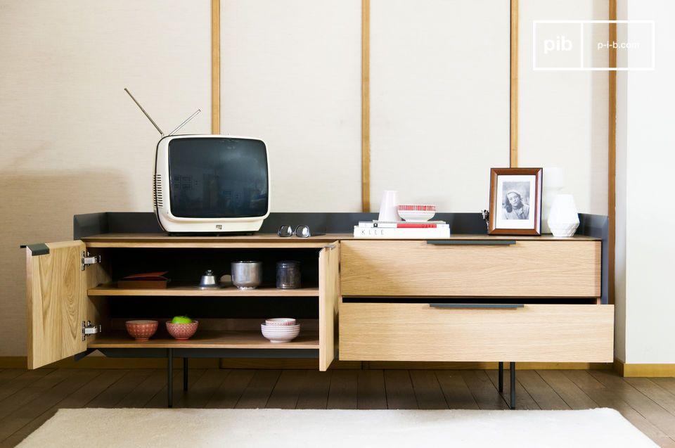 Un mueble TV práctico de color brillante