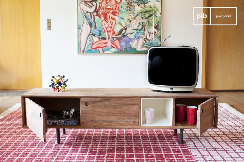 Mueble tv vintage bascole sofisticado marco de metal pib for Mueble tv retro