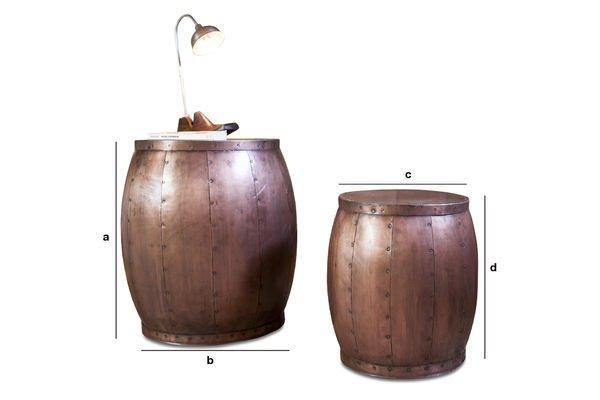 Dimensiones del producto Par de mesas de cobre