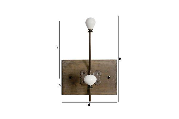 Dimensiones del producto Perchero doble gancho de cerámica