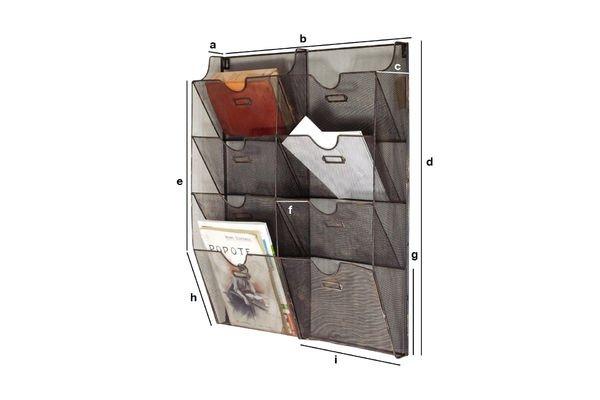 Dimensiones del producto Porta documentos de alambre en maya de pared