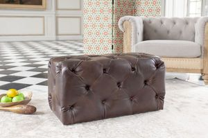 Puf de cuero Dark Chesterfield