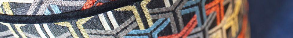 Descriptivo Materiales  Puf de tela gráfica Toumani