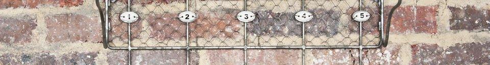 Descriptivo Materiales  Repisa de malla metálica con ganchos numerados