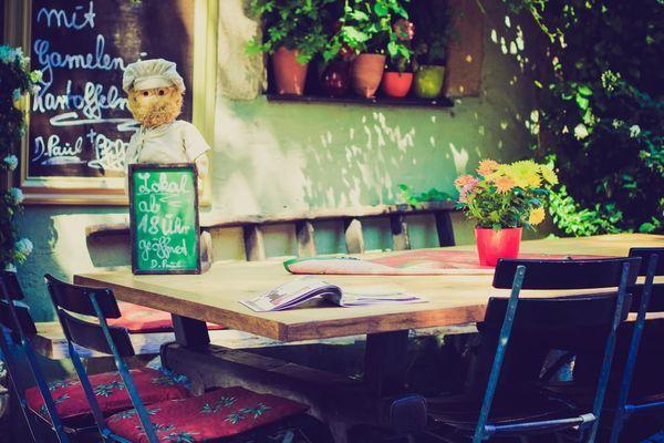 Restaurante mesa de madera