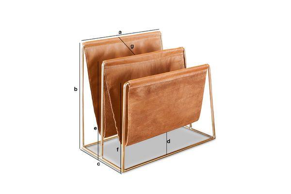 Dimensiones del producto Revistero de cuero y latón Jorgen