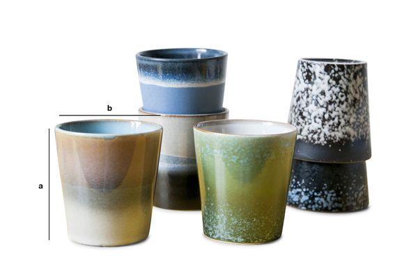 Dimensiones del producto Seis tazas de café Ceramix
