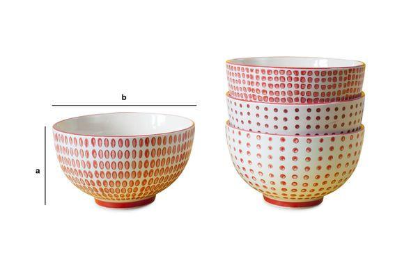 Dimensiones del producto Set de 4 bols con lunares rojos