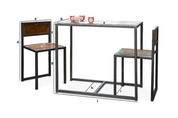 Dimensiones del producto Set de mesa y sillas Finn