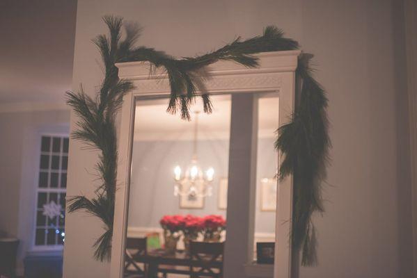 shabby chic espejo con decoracion pino