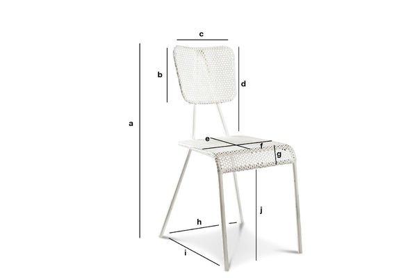 Dimensiones del producto Silla blanca metálica