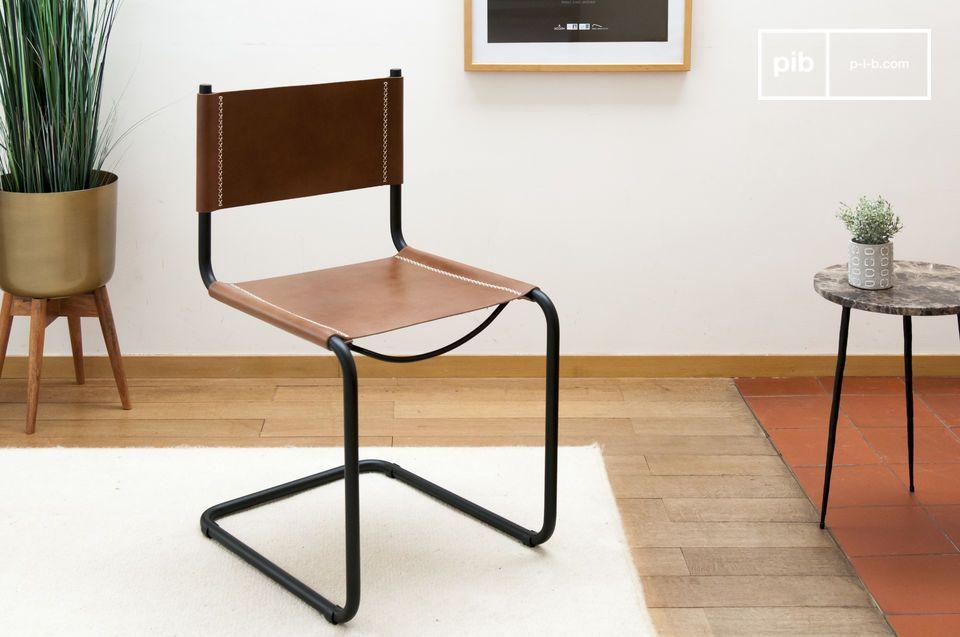 Una silla de cuero con un aspecto gráfico y de diseño