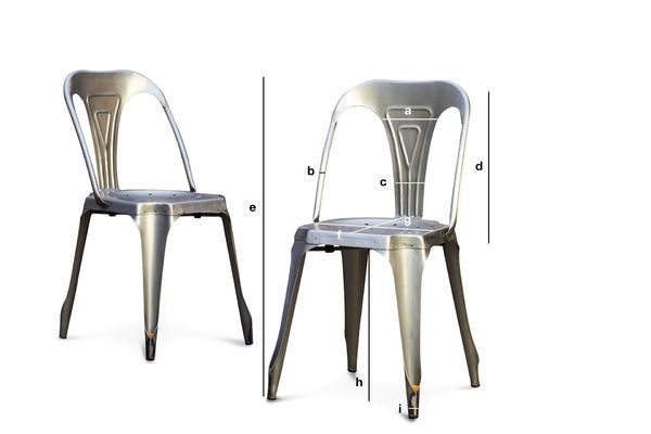 Dimensiones del producto Silla Multipl's con acabados de acero cepillado