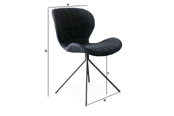 Dimensiones del producto Silla negra Hetsik