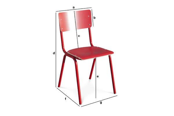 Dimensiones del producto Silla roja Skole