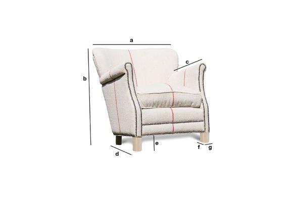 Dimensiones del producto Sillón de lino blanco Fontaine