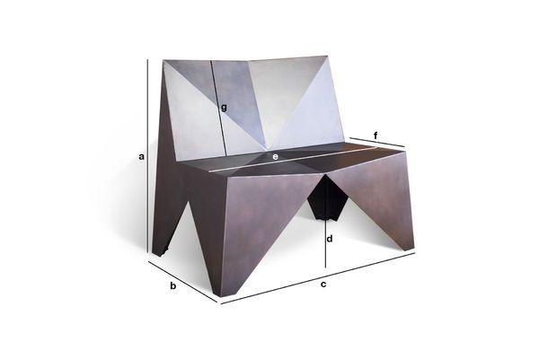 Dimensiones del producto Sillón de metal Poligonal