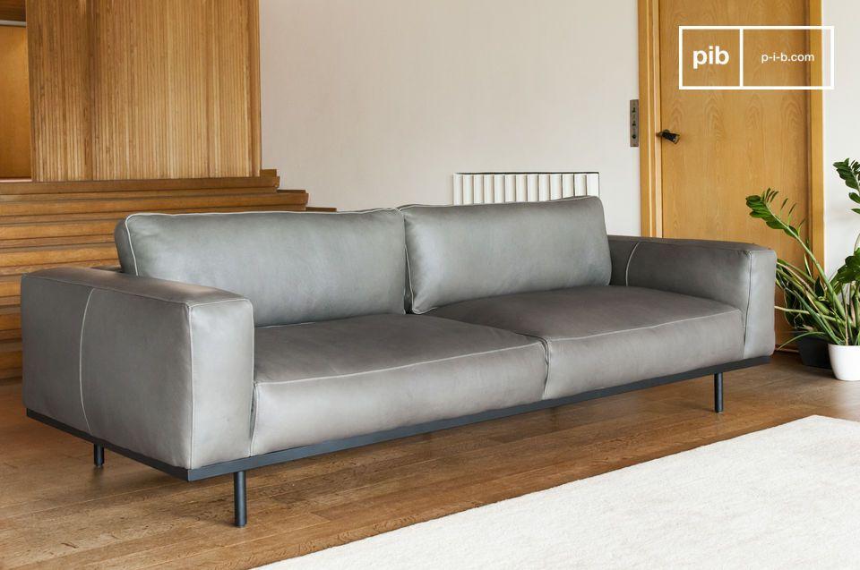 Un gran sofá de tres plazas, el eje de su estancia