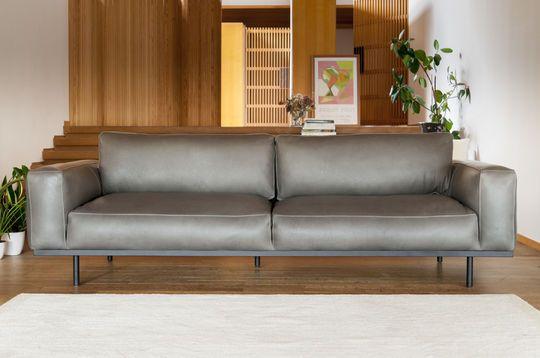 Sofá 3 plazasAlmond en cuero gris