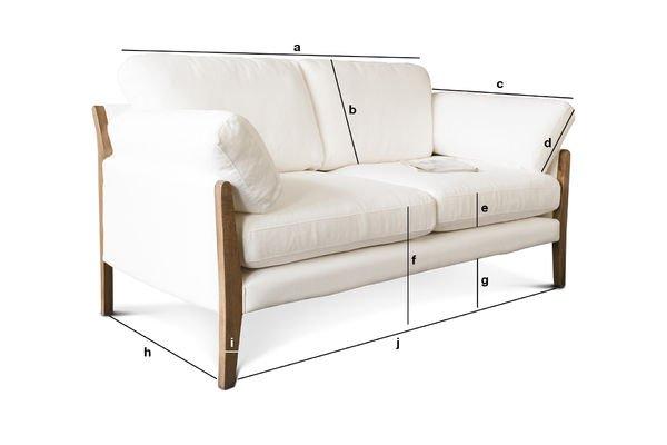 Dimensiones del producto Sofa blanco Ariston