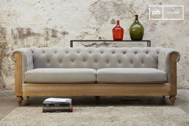 Sofá Chesterfield Montaigu Grande Gris