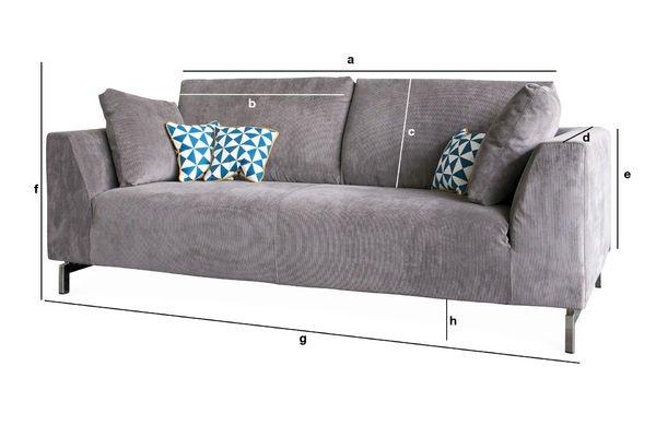 Dimensiones del producto Sofá Dakota con cubierta removible