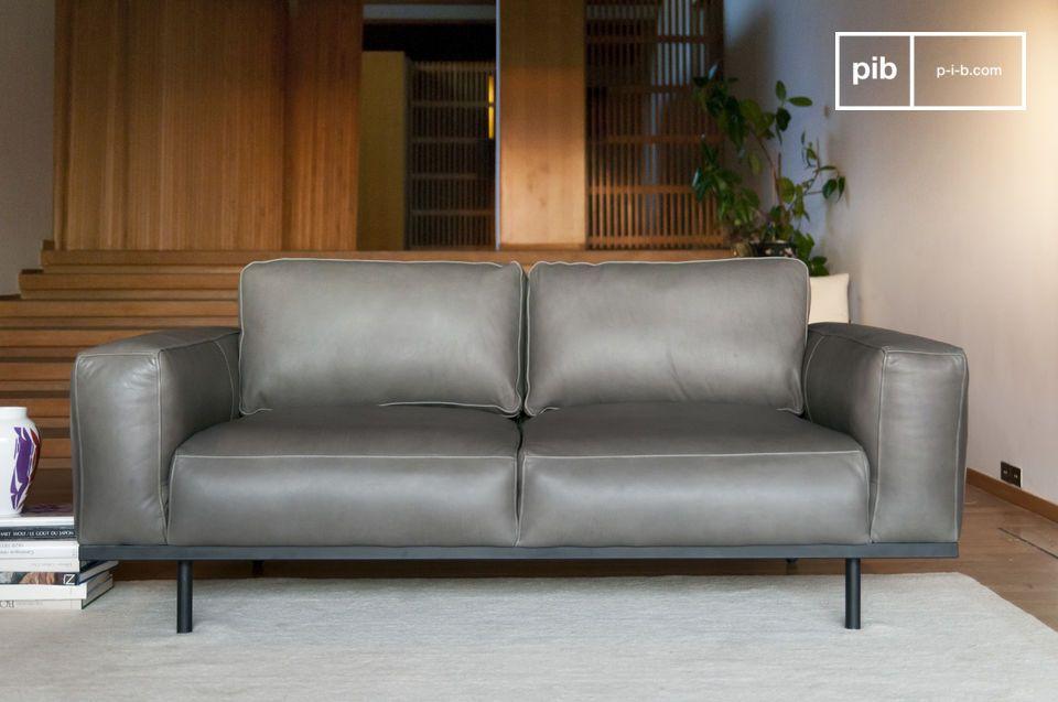 Sofá de cuero gris Almond