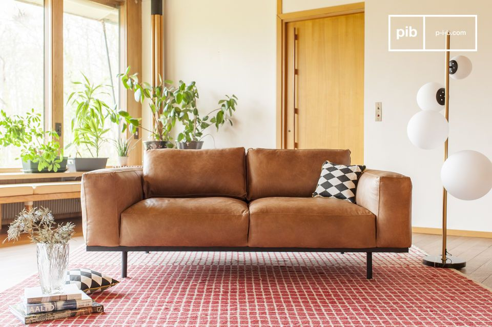 Sofá de cuero marrón Almond