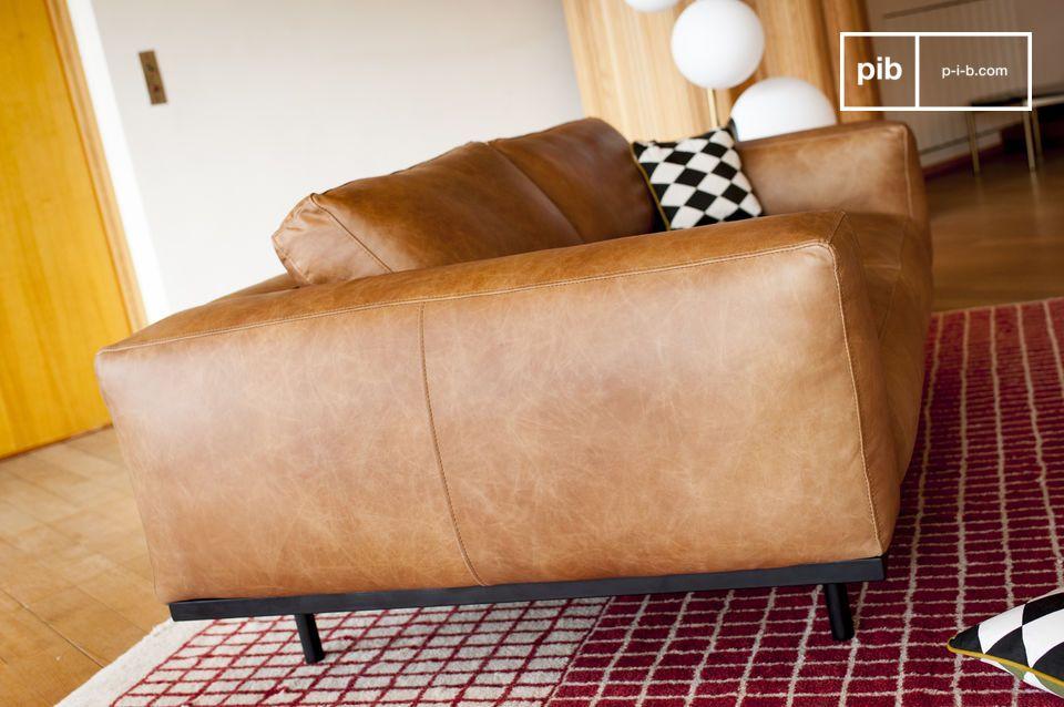 Sofá de cuero marrón Almond - 6